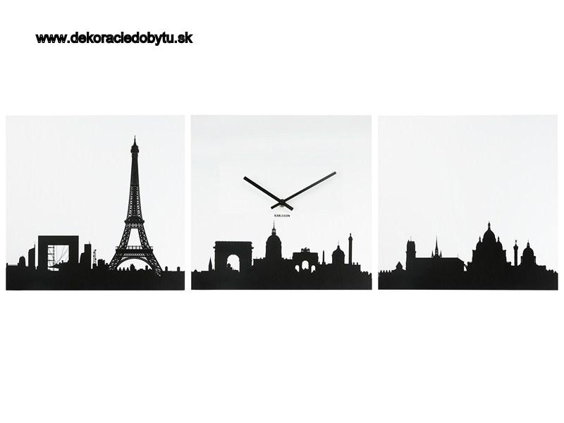 Hodiny na stenu Karlsson 3 obraz Paríž 3x35x35cm - Obrázok č. 1