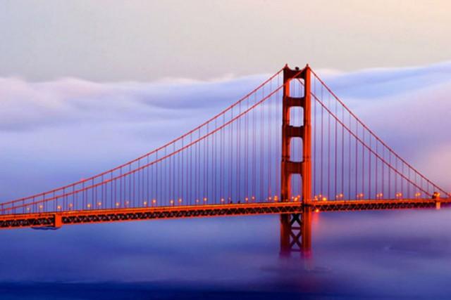 Obraz na skle 40x60cm Golden Gate most - Obrázok č. 1