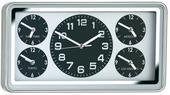 Nástenné hodiny World, 5 svetových časov 47cm,
