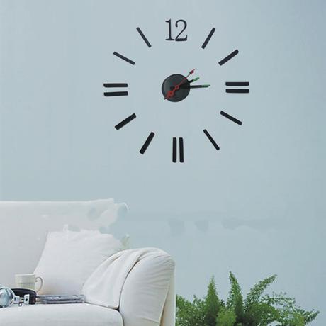 Nástenné nalepovacie hodiny - čierne, 12 - Obrázok č. 1