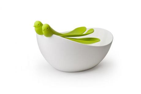 Misa s nástrojmi Qualy Sparrow Salad Bowl, biela-z - Obrázok č. 1
