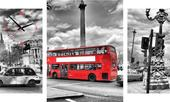 3-dielný obraz s hodinami, LONDON BUS, 95x60cm,