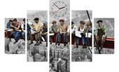 5-dielny obraz s hodinami,NY Robotníci, 100x70cm,
