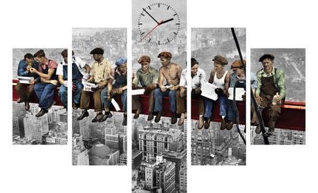 5-dielny obraz s hodinami,NY Robotníci, 100x70cm - Obrázok č. 1