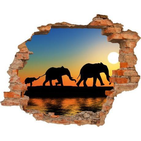 3D fototapeta, Slony, 125 x100cm - Obrázok č. 1