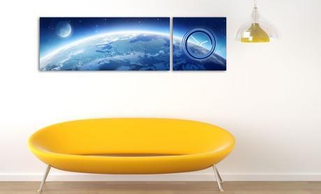 2-dielny obraz s hodinami, Zem, 158x46cm - Obrázok č. 1