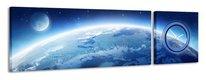 2-dielny obraz s hodinami, Zem, 158x46cm,