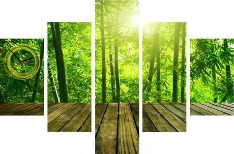 5-dielov, Hodiny ako obraz, Bamboo, 100x70cm - Obrázok č. 1