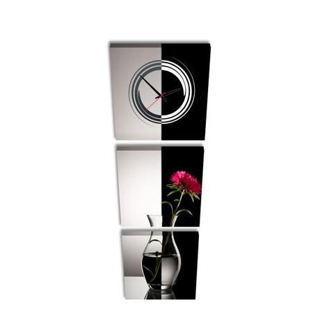 3-dielny obraz s hodinami, Váza, 35x105cm - Obrázok č. 1