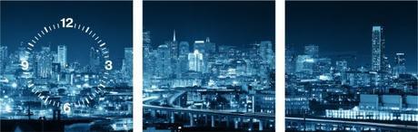 3-dielny obraz s hodinami, SAN FRANCISCO Panorama, - Obrázok č. 1