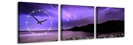 3 dielne obrazové hodiny Búrka, 35x105cm - Obrázok č. 1