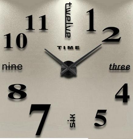 3D Nalepovacie hodiny DIY Clock Twelve Time, čiern - Obrázok č. 1