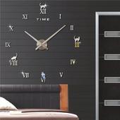 3D Nalepovacie hodiny DIY Clock Cat Time, striebor,