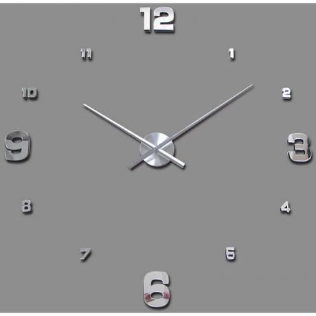 3D Nalepovacie hodiny Clock BIG 3-12, Silver Mirro - Obrázok č. 1