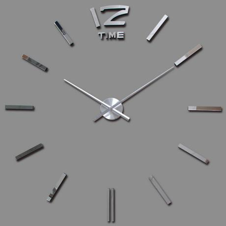 3D Nalepovacie hodiny DIY Clock BIG Time, Silver 8 - Obrázok č. 1