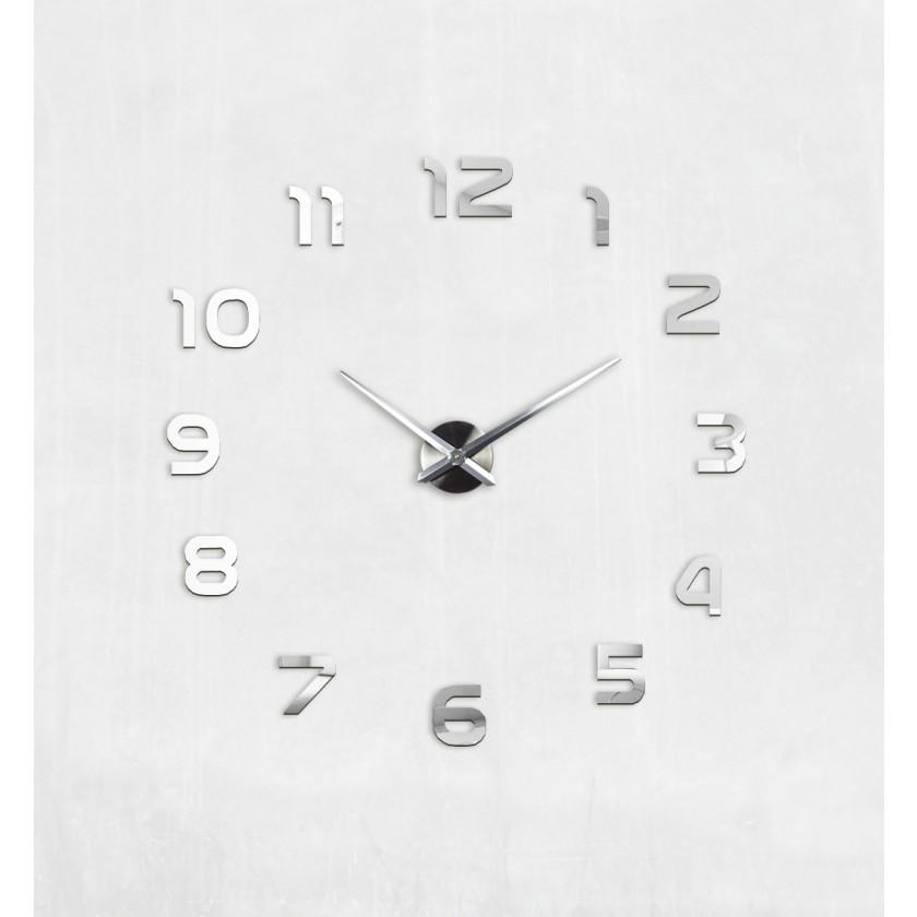 3D Nalepovacie hodiny DIY Clock 1-12, Silver 80-13 - Obrázok č. 1