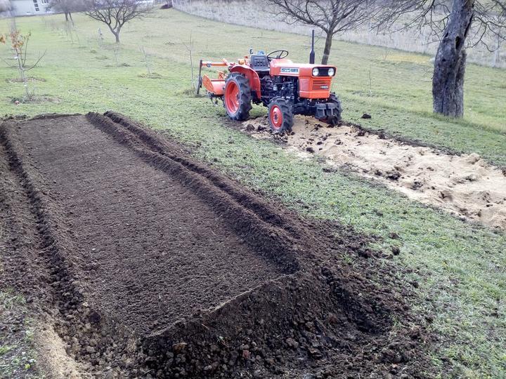 Ako som robil vyvyseny zahon na jahody - priprava zeminy- ornica , mastalny hnoj , superfosfat ,siran draselny , piesok a premiesane kultivatorom ..