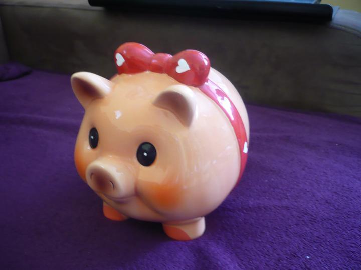 Zopár drobností - moje prasiatko - namiesto truhlicky na peniazkove dary :-) sa tvari ze je male ale ma dobrych 20cm
