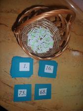 Na tombolu...kartičky s čísly jsou tmavě tyrkysové, ale nejde nafotit :-(