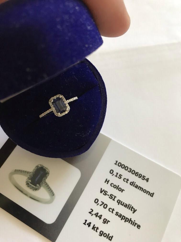 Zásnubní prstýnek - zlato, safír, brilianty - Obrázek č. 1