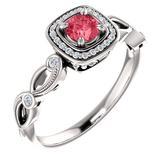 Zásnubný prsteň so zirkónmi a ružovým spinelom | www.klenotyhematit.sk