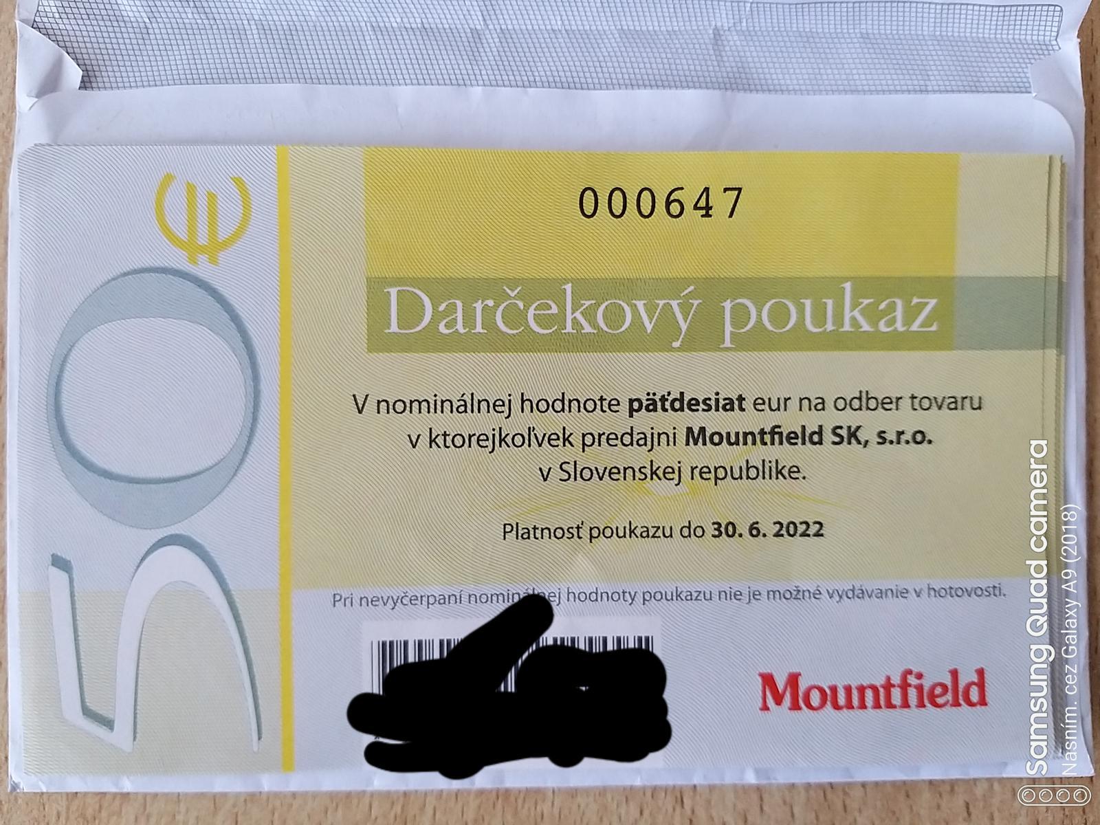 Poukážky Moutfield v hodnote 250€ výhodné za 220€ - Obrázok č. 1
