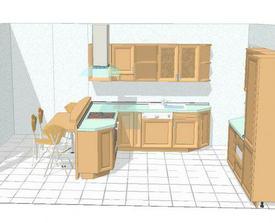 kuchyně - Bavoria (Hanák), buková dýha...obklad bude takový zelený, vymalováno meruňkovou nebo broskvovou
