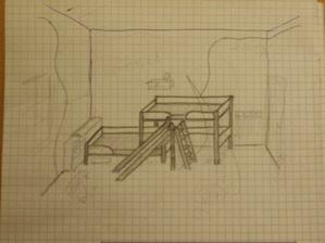 ...asi takhle nějak...jen vyšší postel bude v rohu (nalevo) a klouzačka bude naopak. truhlář už to viděl ;-)