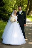 Svatební šaty se závojem a spodnicí - vel. 36-38, 36