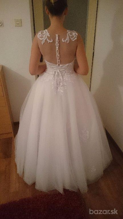 Snehovo biele svadobne šaty  - Obrázok č. 3