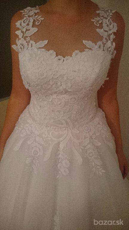 Snehovo biele svadobne šaty  - Obrázok č. 4