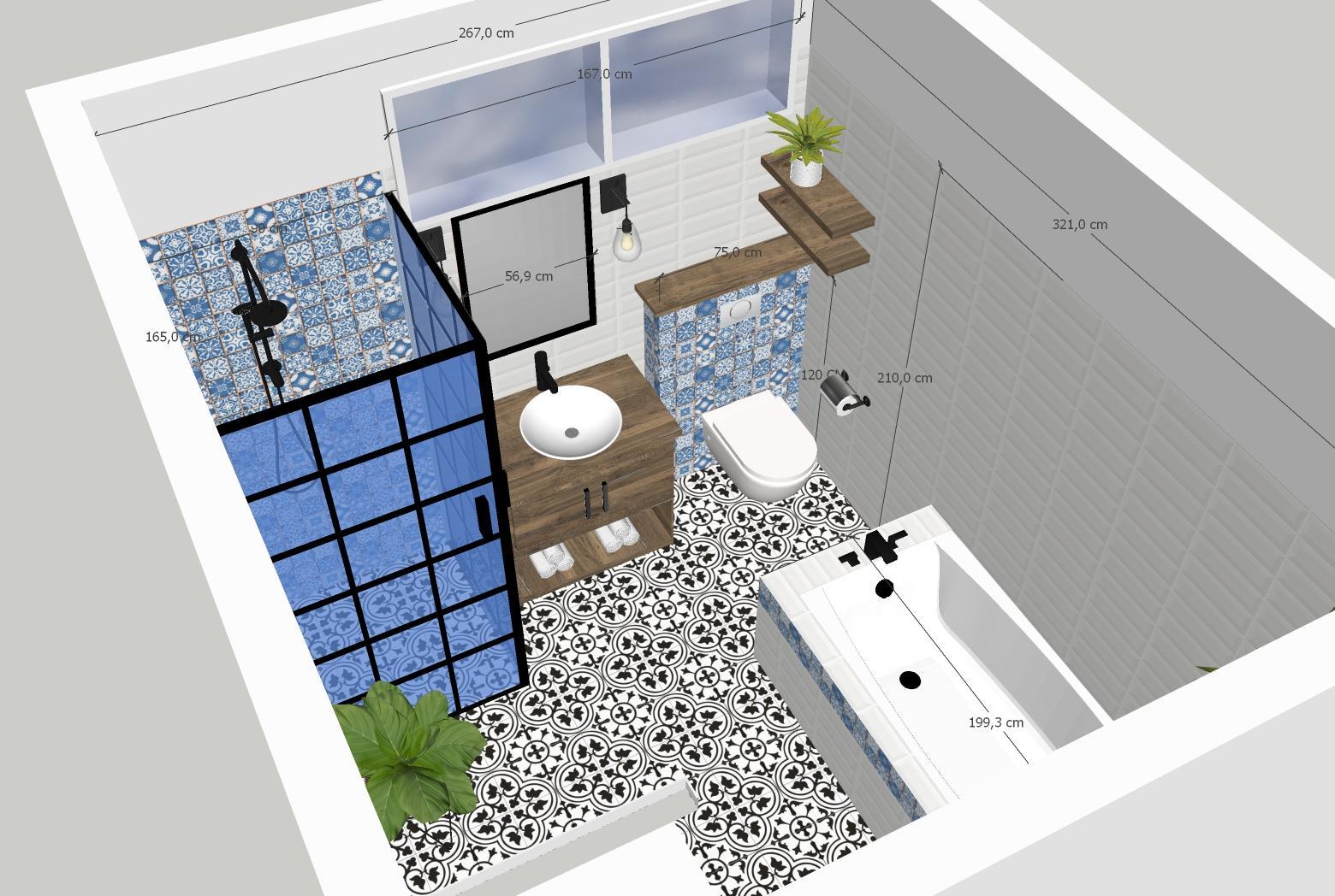 Naša rustikálna kúpeľňa - Konečna vizualizacia . Wc sme museli nechať na pôvodnom mieste,kvoli spadu...Poličky drevene budu ale nad wc a na stene pri vani , nie oproti