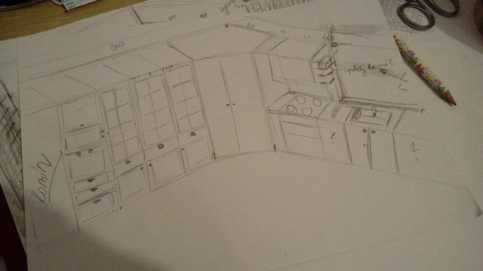 Moje kráľovstvo v kráľovskej modrej. - Moj prvý návrh kuchyne. je to veľmi nepresné, potrebovala by som to dostať na štvorčekový papier. Kuchyňa má veľkosť 360x460.Na stene, ktorá ma 360 sa nacháza komín zamurovaný vo velkosti 70 cm na širku.Na strane 460 je okno 150 cmod spoločnej steny