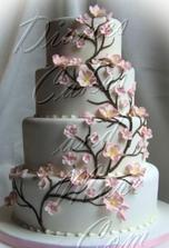 ... nebo větvička posetá květy (každopádně bychom rádi dort potažený bílým marcipánem)