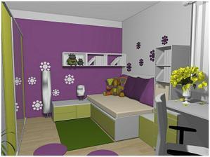 příjemné barvičky, dobře řešený pokoj