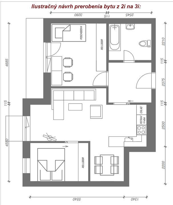 Stupavské bývaníčko - Architektka navrhla aj takéto riešenie, ale nám skôr vyhovovali tie 2 veľké izby ako 3 malé