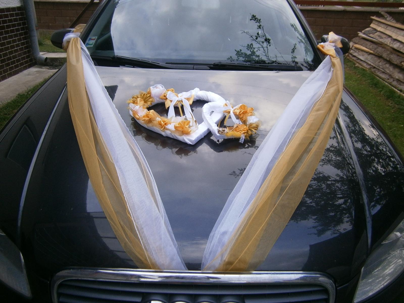 Svadobné AUTO - zlato - biela
