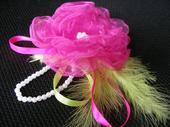 Náramok pre dužičky - ruža + perie,