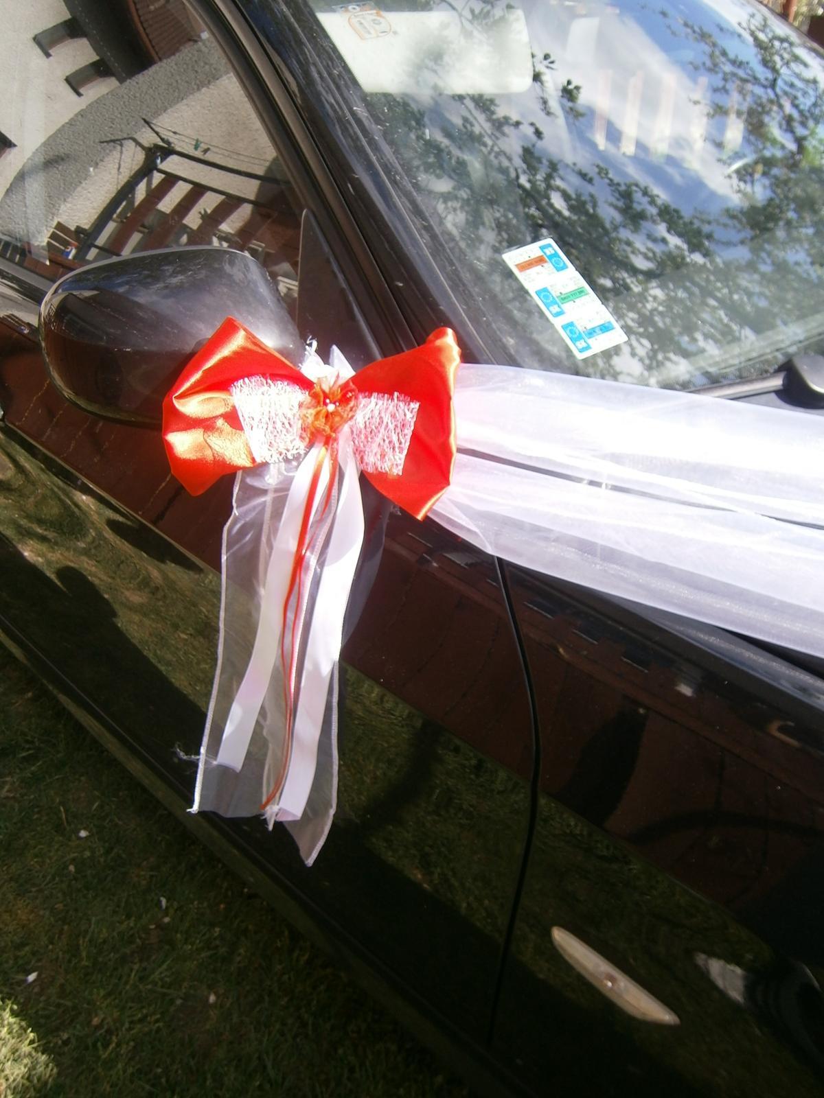 Červená výzdoba na svadobné auto z10ks - Obrázok č. 3