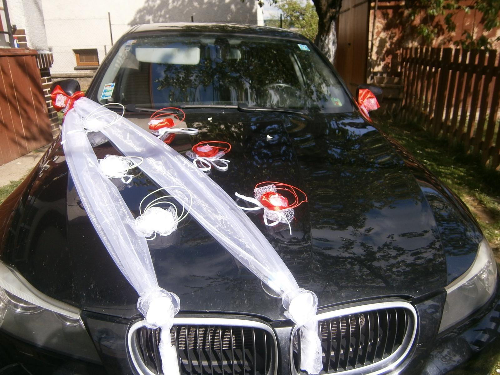 Červená výzdoba na svadobné auto z10ks - Obrázok č. 4