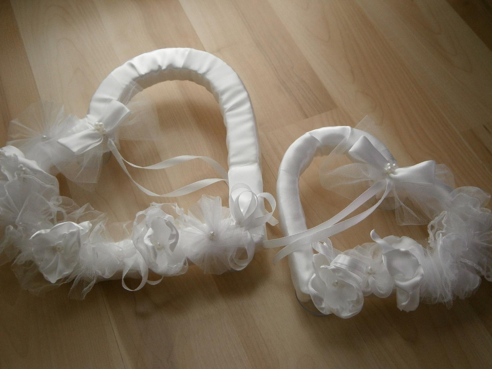 Srdcia na svadobné auto - biele - Obrázok č. 1