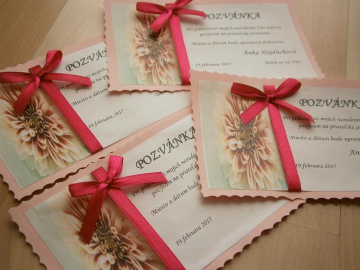 Pozvánky - ružová s mašličkou - Obrázok č. 1