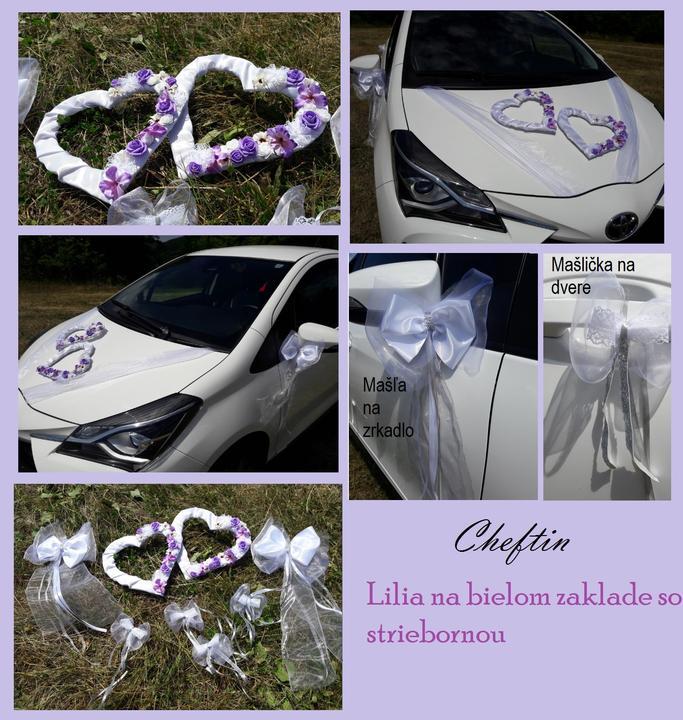 Lilia srdcia - svadobné auto - kompletny set - Obrázok č. 1