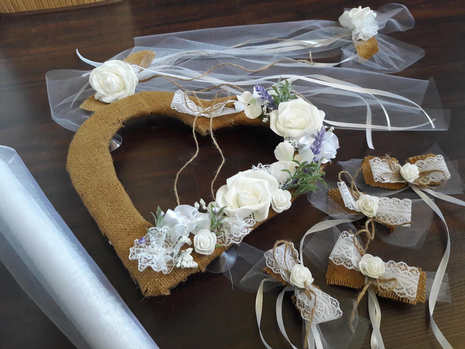 Svadobné auto - Juta a levanduľa set - Obrázok č. 1