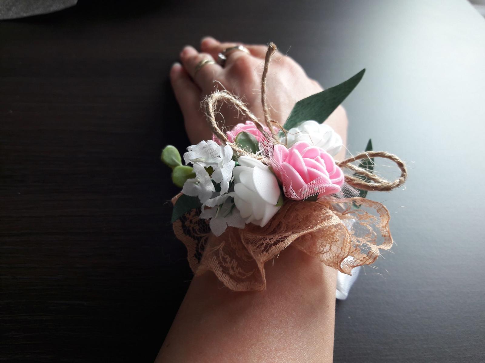 Náramky - penové ružičky a motúzik  - Obrázok č. 2