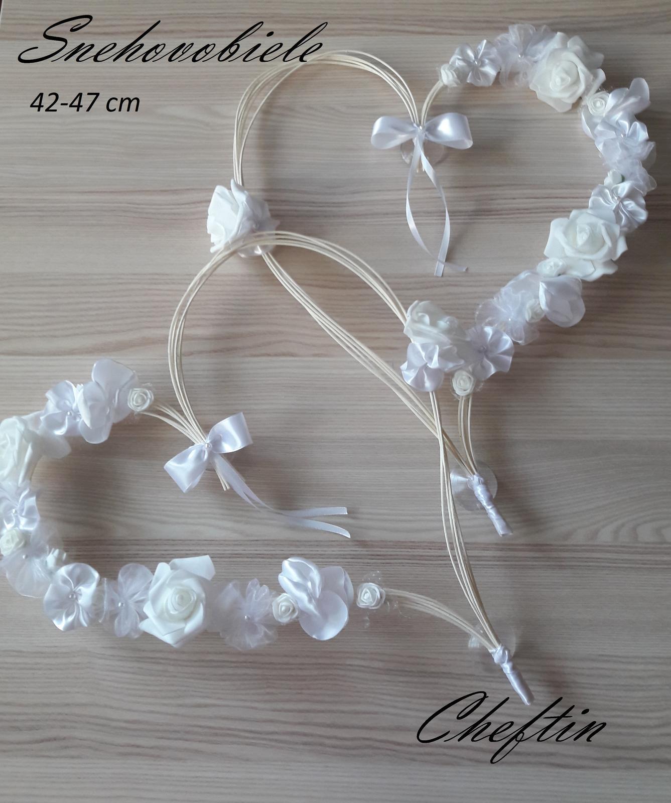 Pedigové srdcia - snehovo biele 2ks - Obrázok č. 1