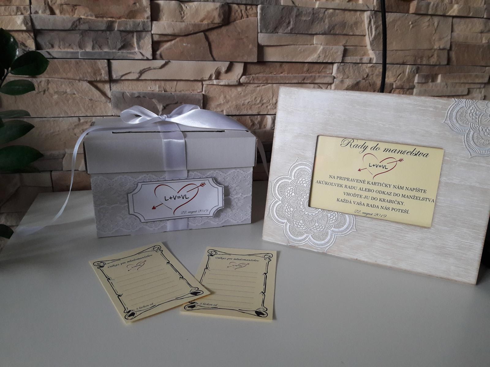 Box s kartičkami na odkazy mladomanželom - Obrázok č. 1
