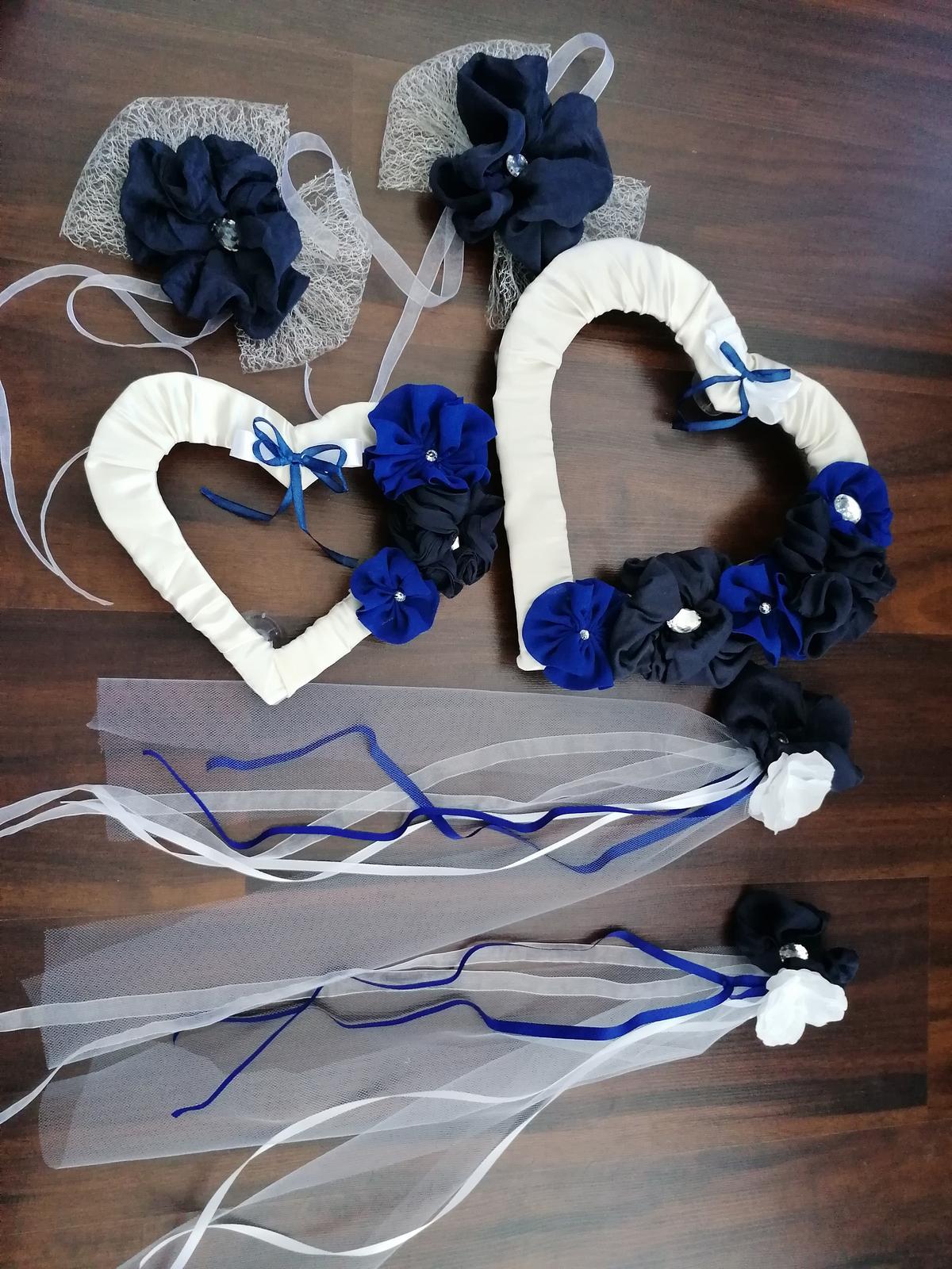 Set bielo modré srdcia + 2 + 2 mašle - Obrázok č. 1