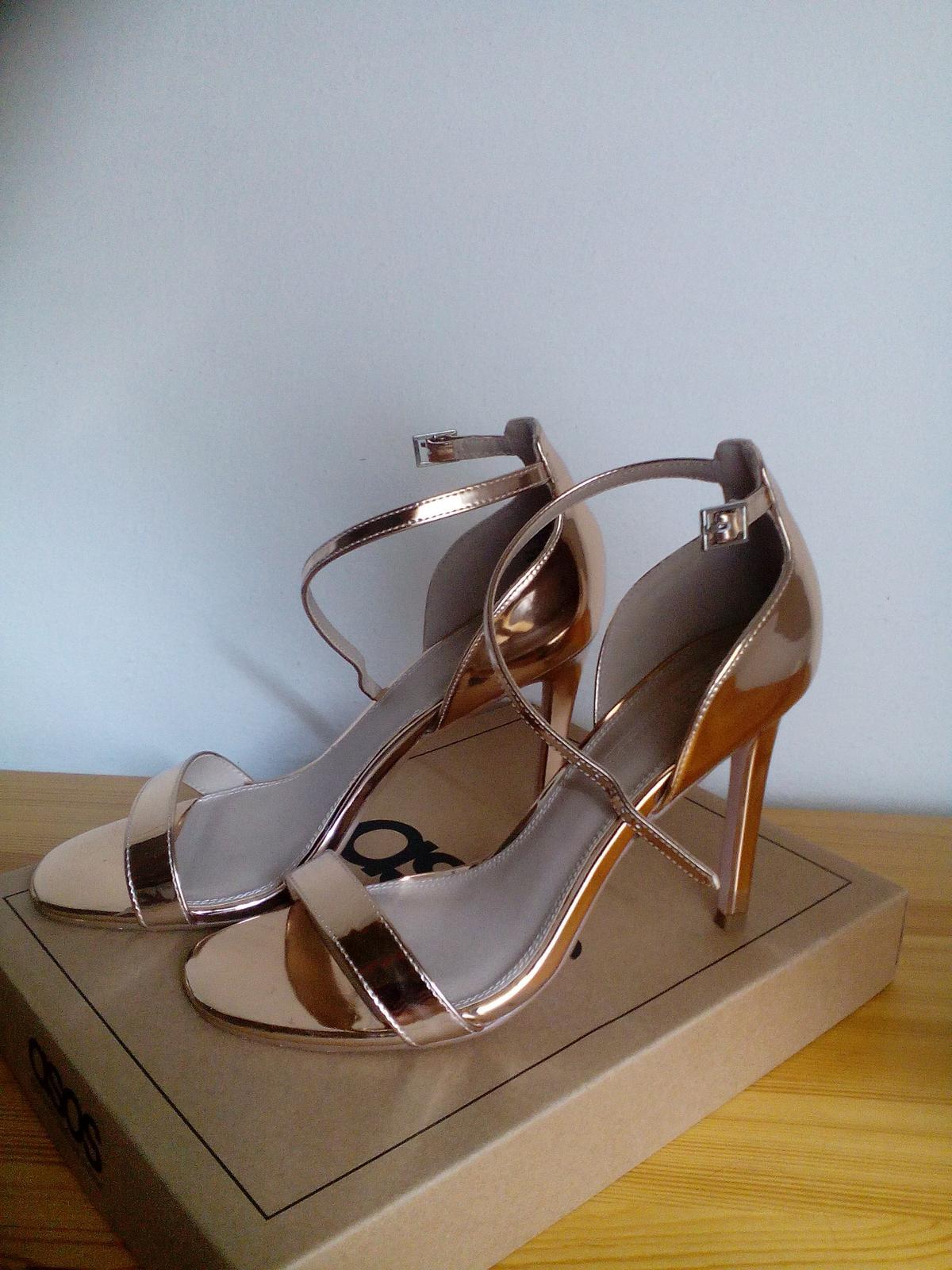spoločenské sandále ružové zlato - Obrázok č. 1