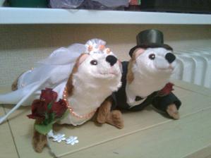 Moje plyšové fretky na svatební  auto, práce mé drahé tchýně :-)